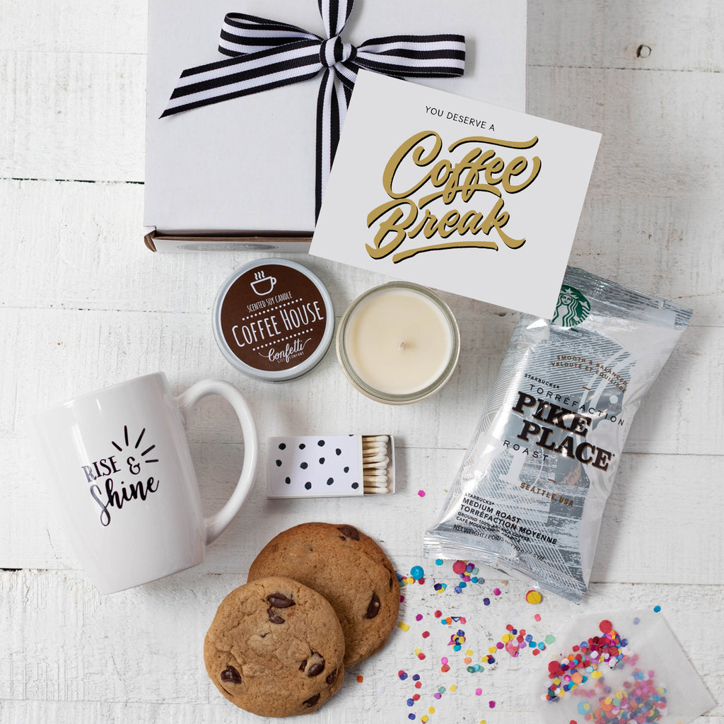 Coffee Gift Set You Deserve A Coffee Break Confetti Gift Company Succulent Gift Boxes Soy Candle Gifts