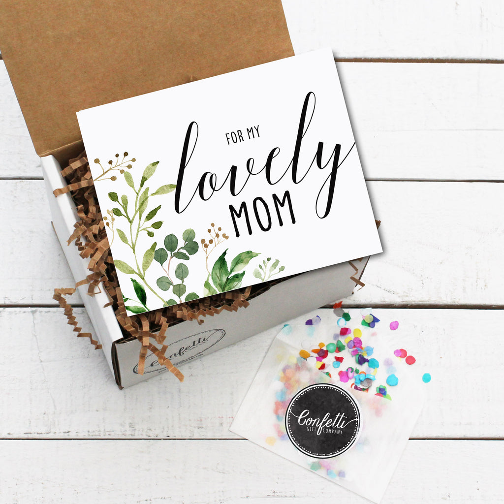 Gift Box with For My Lovely Mom Card and Confetti