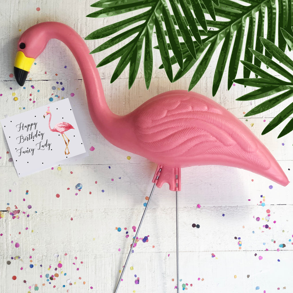 Pink Flamingo with Happy Birthday Fancy Lady Card