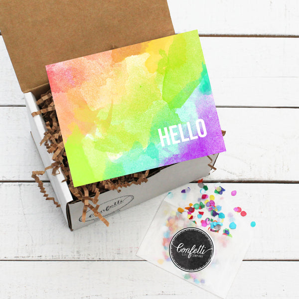 Gift Box with Hello Card and Confetti