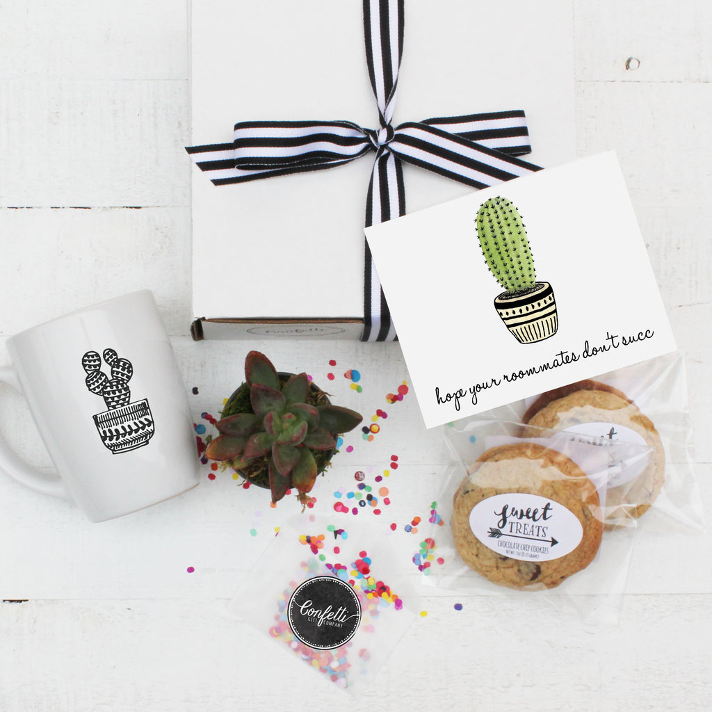 College Care Package Hope Your Roommates Don T Succ Gift Box Confetti Gift Company Succulent Gift Boxes Soy Candle Gifts