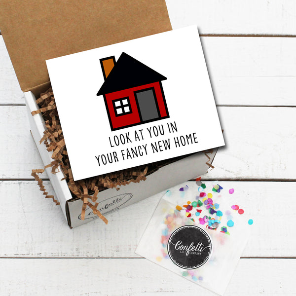 Gift Box with Look At You In Your Fancy New Home Card and Confetti
