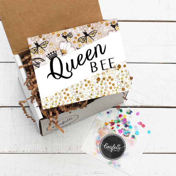 Gift Box with Queen Bee Card and Confetti