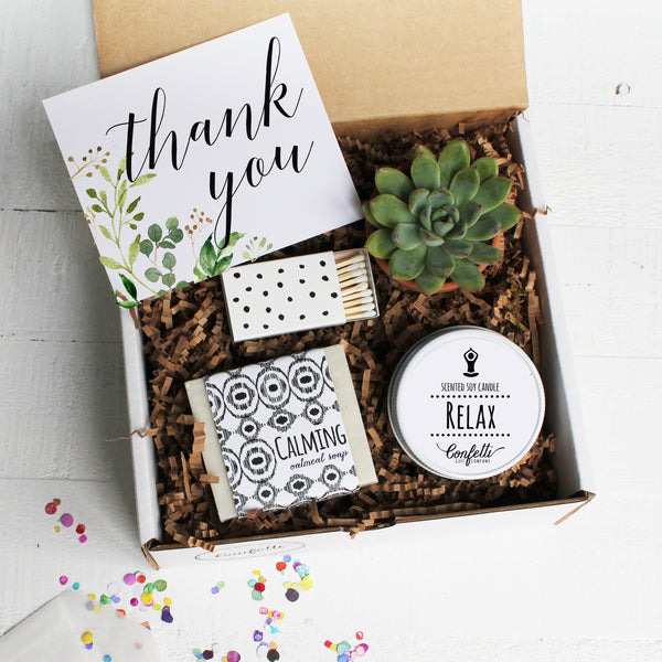 thank you confetti gift company succulent gift boxes soy candle
