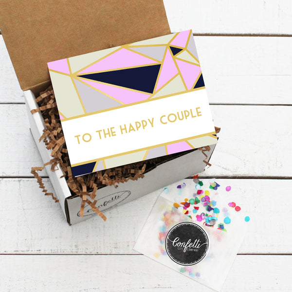 Gift Box with To The Happy Couple Card and Confetti