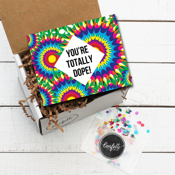 Gift Box with You're Totally Dope Card and Confetti