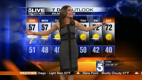 Liberte Chan wears Shannon Snow on KTLA