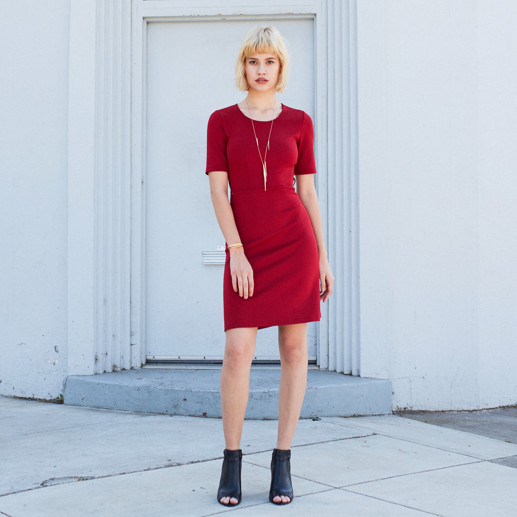Ted Speaker Dress, Crimson