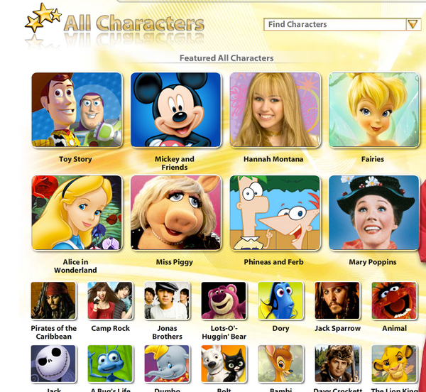 Disney's Movie All Characters Page