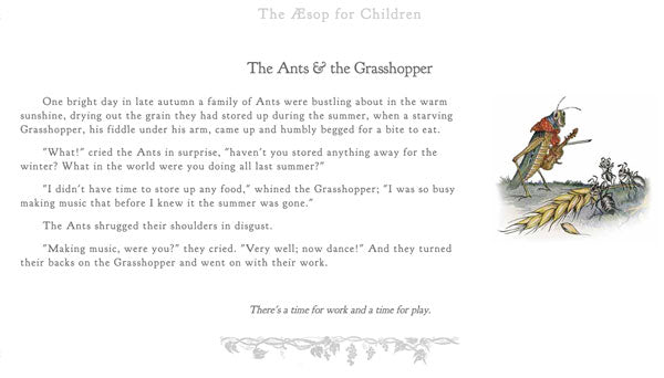 Ants and Grasshopper Aesop Text image