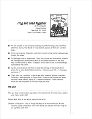 Frog and Toad handout image