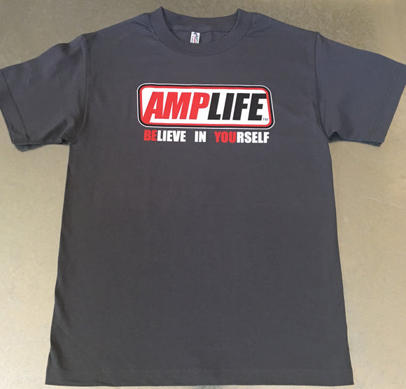 AMPLIFE™ BELIEVE IN YOURSELF Grey T-Shirt - Amputee Life® Clothing