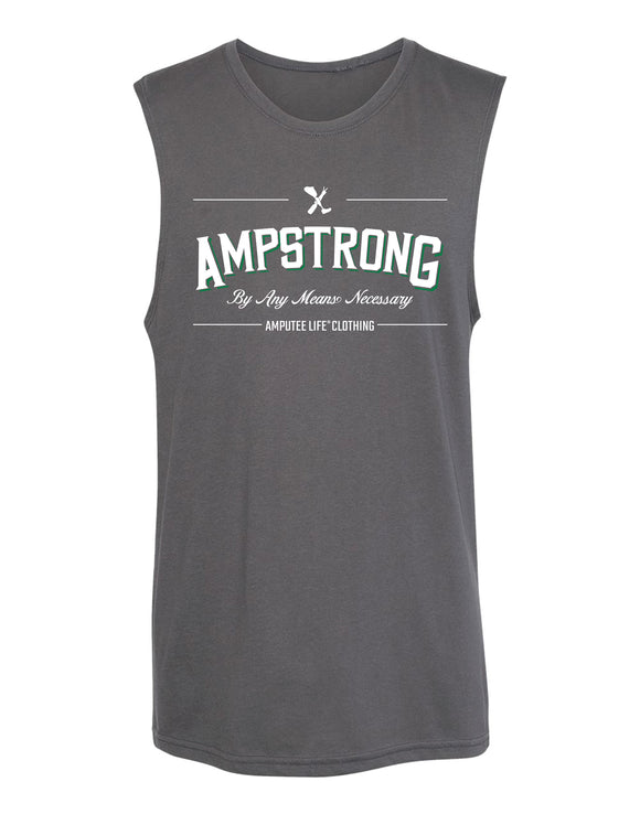 Ampstrong By Any Means Necessary Sleeveless T-Shirt Dark Heather Grey