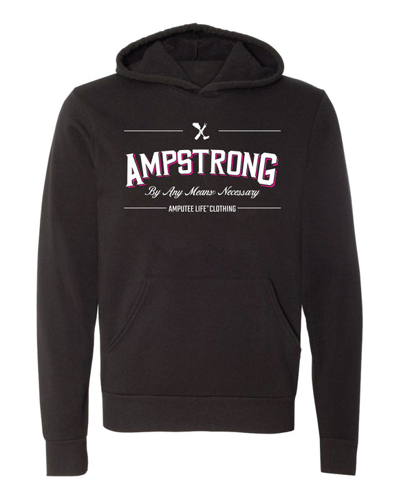 AMPSTRONG. By Any Means Necessary Ladies Black Hoodie with Hot Pink   Let 'em know and Rock it Proudly!  * Please not that this is a unisex Hoodie.  For a slimmer fit, we recommend to size down