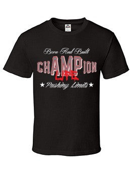 78150baa chAMPion Life BLACK T-SHIRT - Amputee Life® Clothing