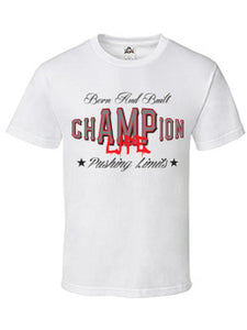 chAMPion Life  WHITE T-SHIRT - Amputee Life® Clothing