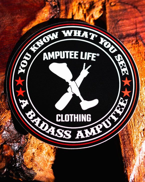 Badass Amputee Sticker   3.5