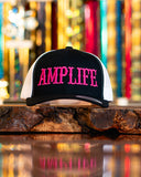 Amplife Black and White with Hot Pink Trucker Snap Back