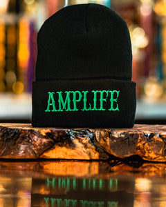 Amplife Beanie Black with Green