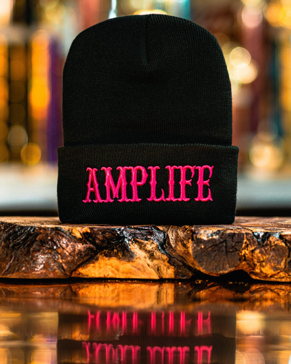 AMPLIFE Beanie Black with Hot Pink 3D Puff Embroidery Represent THE AMP LIFE proudly! One size fits all 100% acrylic