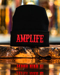 AMPLIFE Beanie Black with Red 3D Puff Embroidery  Represent THE AMPLIFE proudly with our black beanie embroidered with red  #AMPLIFE #CANTSTOPWONTSTOPREFUSETOSTOP  One size fits all 100% acrylic