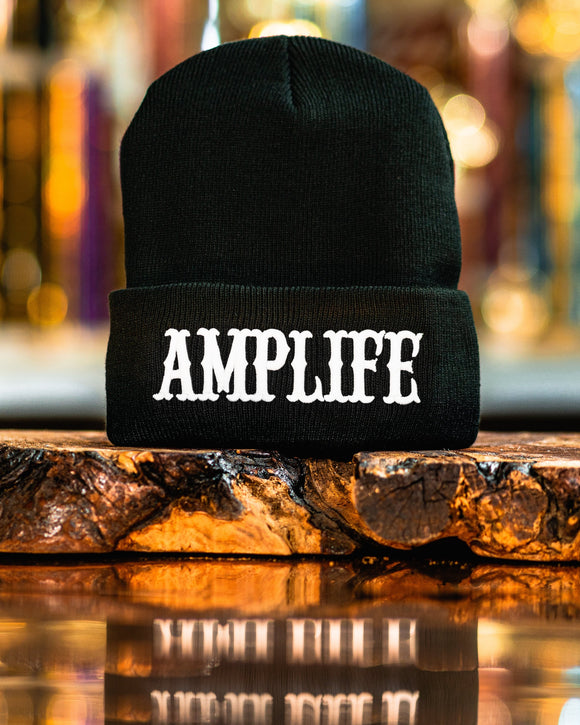 AMPLIFE Beanie Black with White 3D Puff Embroidery  Represent THE AMPLIFE proudly with our black beanie embroidered with white 3D Puff Embroidery.  #AMPLIFE #CANTSTOPWONTSTOPREFUSETOSTOP  One size fits all 100% acrylic
