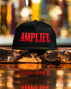 "AMP LIFE Black with Red 3D Puff Embroidery.  Flex Fit, Flat Bill  Represent THE AMP LIFE proudly with our Flex Fit Hats.  S/M (6 7/8"" - 7 1/4"") L/XL (7 1/4"" - 7 5/8"")"