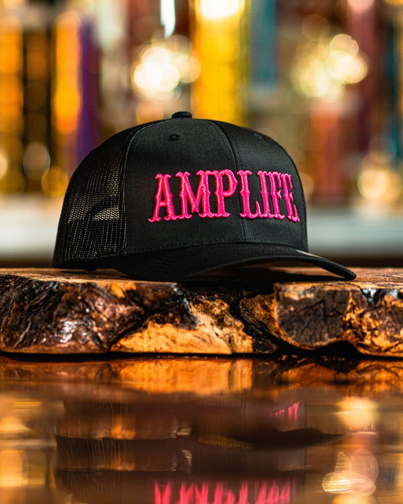 AMPLIFE Black with Hot Pink 3D Puff Embroidery Trucker.  Snap Back Represent THE AMPLIFE proudly with our AMPLIFE Hats.