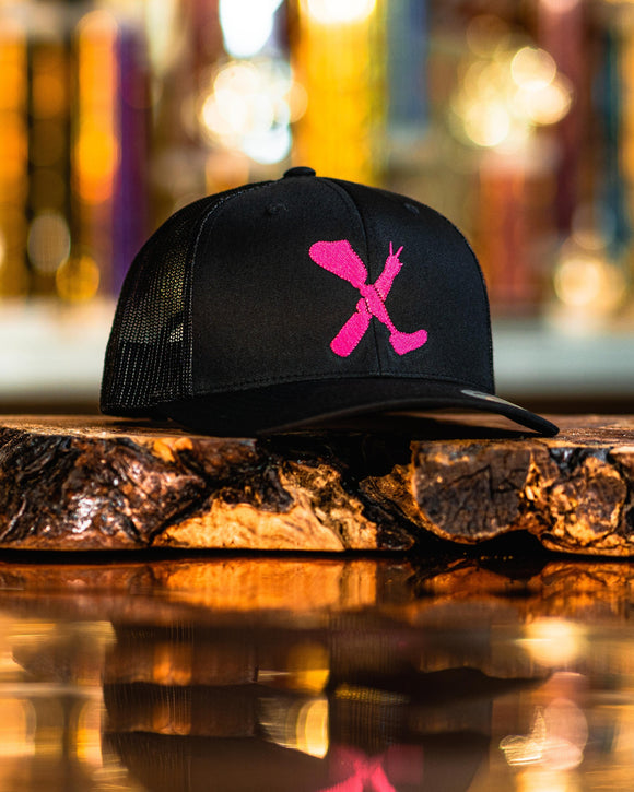 Amputee Life® Clothing Logo Black Trucker Snap Back With Hot Pink  Every day we reach deep down to find that INNERSTRENGTH to never give up! Rock your AMPLIFE proudly!  65/35 polyester/cotton