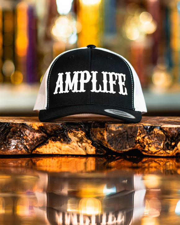 Amplife Black & White Trucker Snap Back With White
