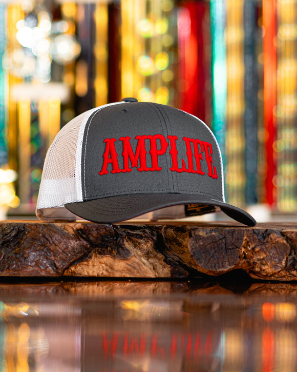 Amplife Grey and White with Red Trucker Snap Back