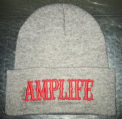 AMPLIFE BEANIE Grey with Red - Amputee Life® Clothing