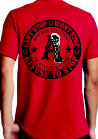 AMPUTEE LIFE™ DEATH CHEATER RED T-SHIRT - Amputee Life® Clothing
