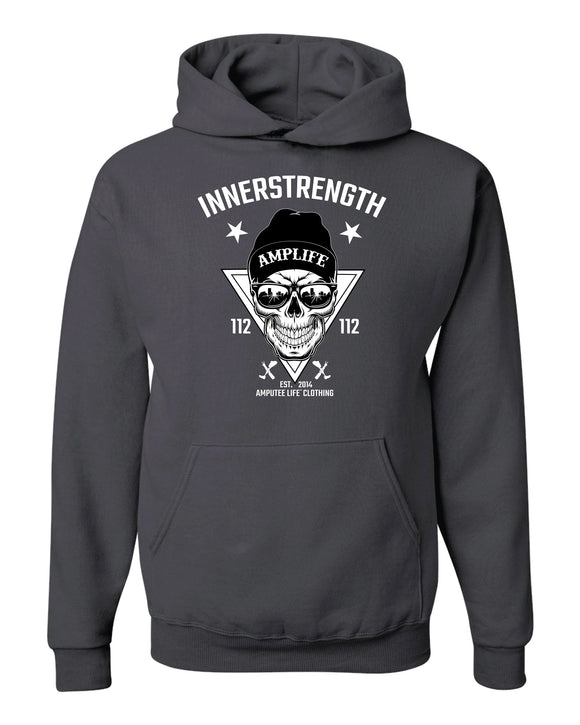 AMPLIFE INNERSTRENGTH Charcoal Grey Hoodie Every day we reach deep down to find that INNERSTRENGTH to never give up! Rock your AMPLIFE proudly!  50% cotton, 50% polyester