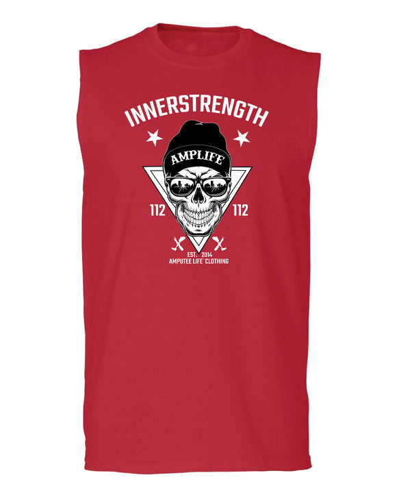 AMPLIFE INNERSTRENGTH Sleeveless T-Shirt  Red   Every day we reach deep down to find that INNERSTRENGTH to never give up! Rock your AMPLIFE proudly!   60% combed ring-spun cotton