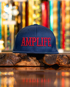 Amplife Flex Fit Flat Bill Navy with Red