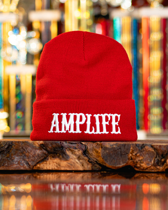 Amplife Beanie Red with White