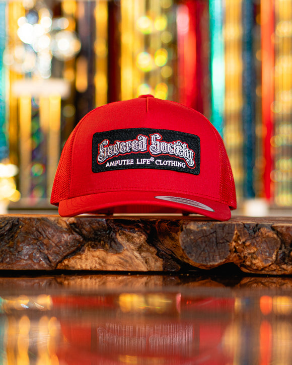 Severed Society Patch Hat Trucker Snap Back Red