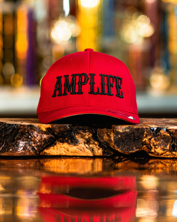 "AMP LIFE Red with Black 3D Puff Embroidery Hat.  Flex Fit, Curve Bill  Represent THE AMP LIFE proudly with our Flex Fit Hats.  S/M (6 3/4"" - 7 1/4"") L/XL (7 1/8"" - 7 5/8"")"