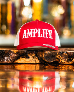 "AMP LIFE RED AND WHITE TRUCKER White 3D Puff Embroidery Flex Fit, Curve Bill  Represent THE AMP LIFE proudly with our Flex Fit Hats.  S/M (6 3/4"" - 7 1/4"") L/XL (7 1/8"" - 7 5/8"") SOLD OUT"