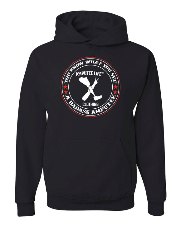 Badass Amputee Hoodie Black With Red