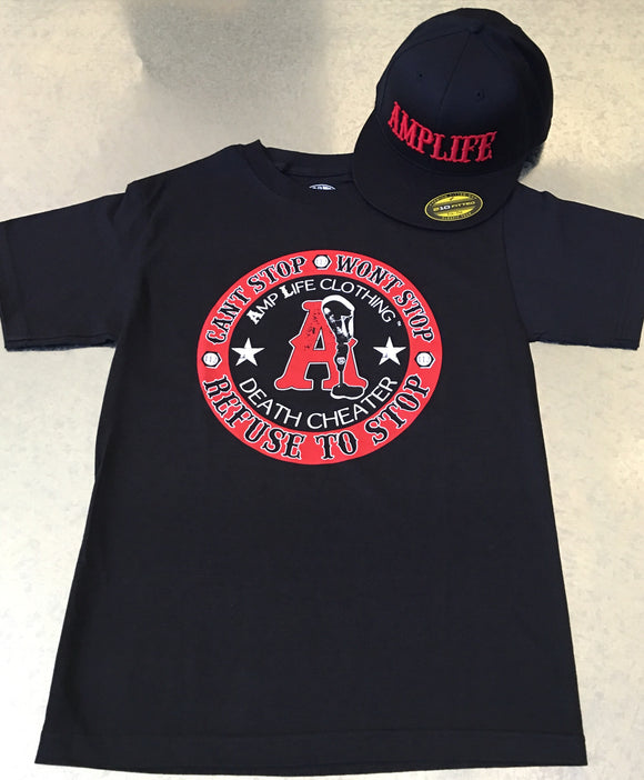 AMPLIFE DEATH CHEATER Black & Red T-shirt - Amputee Life® Clothing