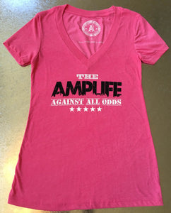 AMPLIFE™ AGAINST ALL ODDS Ladies V-Neck Pink - Amputee Life® Clothing