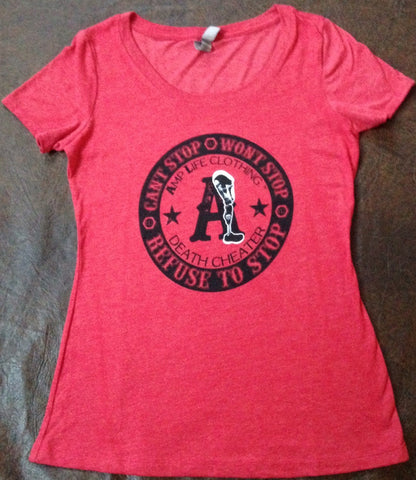AMPLIFE™ DEATH CHEATER LADIES SCOOP NECK Vintage Red - Amputee Life® Clothing
