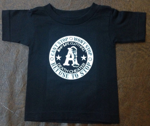 AMPUTEE LIFE® DEATH CHEATER TODDLER Black Tee - Amputee Life® Clothing