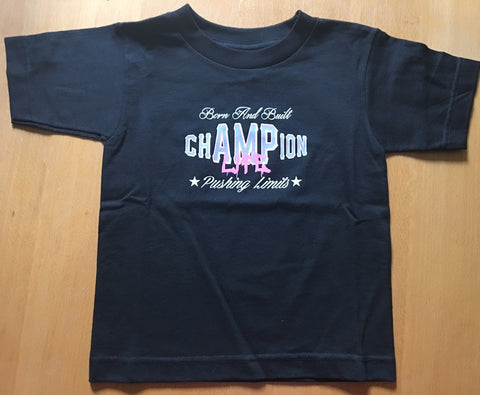 AMPUTEE LIFE®  chAMPion LIFE KIDS T-SHIRT BLACK & PINK - Amputee Life® Clothing