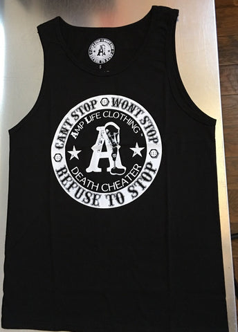 AMPLIFE™ DEATH CHEATER TANK TOP Black & White - Amputee Life® Clothing