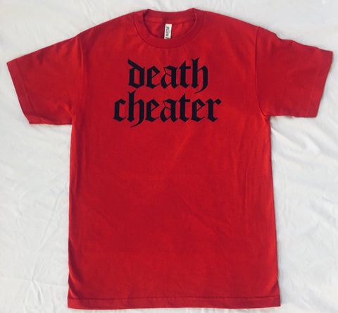 Death Cheater T-Shirt Red or Grey with Black with back Neck Shot Print