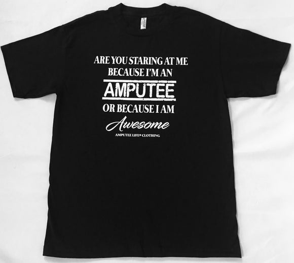AMPUTEE AND AWESOME Black T-Shirt With White Print