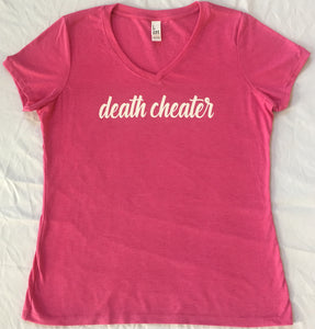 Death Cheater Ladies V-Neck Pink with White